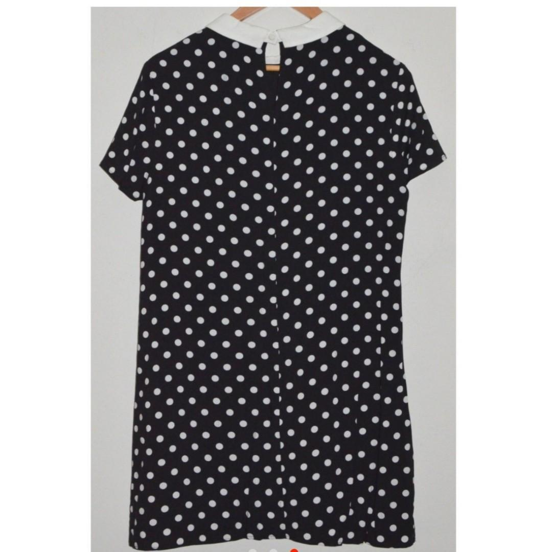 FOREVER 21 BLACK & WHITE POLKA DOT 90s COLLAR DRESS