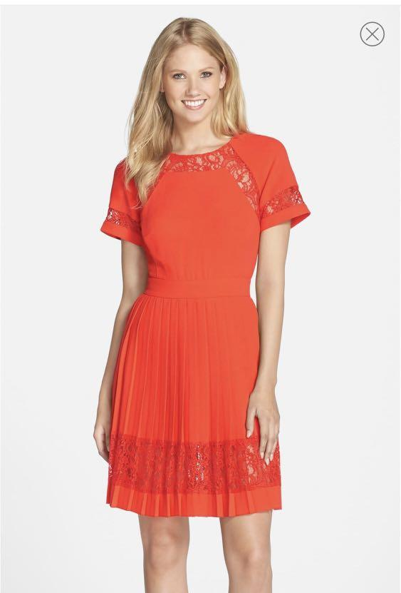 French Connection Pleated Lace A-Line Dress ( Size 0 )