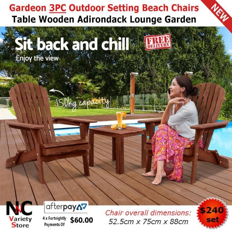 Gardeon 3PC Outdoor Setting Beach Chairs Table Wooden Adirondack Lounge Garden