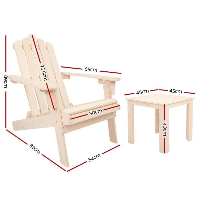Gardeon Outdoor Beach Chairs Table Set Wooden Folding Adirondack Lounge