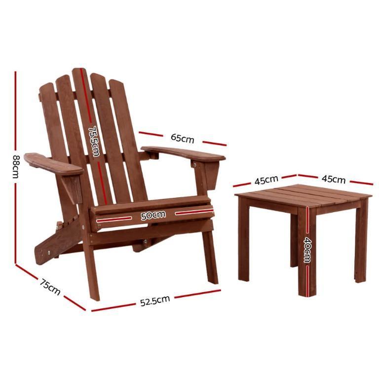 Gardeon Outdoor Folding Beach Camping Chairs Table Set Wooden Adirondack Lounge