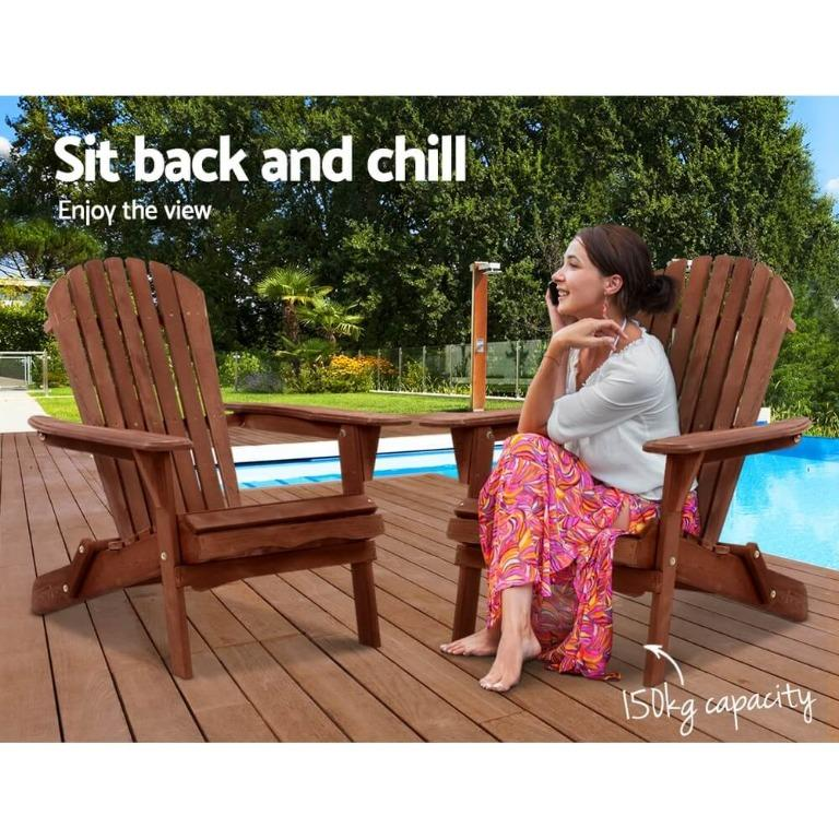 Gardeon Outdoor Furniture Beach Chair Wooden Adirondack Patio Lounge Garden