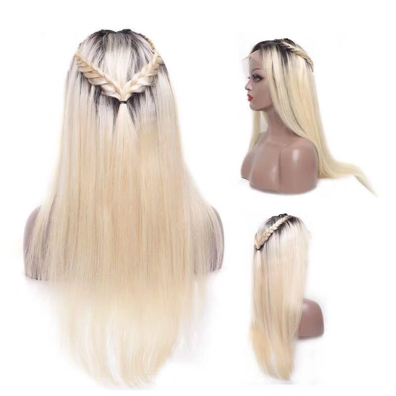 Human hair lace front wig Brazilian hair ombre 1b/613 and 613 color blonde hair lace wigs on sale
