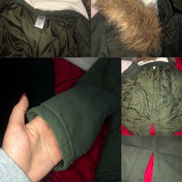 KHAKI GREEN WINTER COAT/JACKET WITH FUR HOOD SIZE 12-14🔥