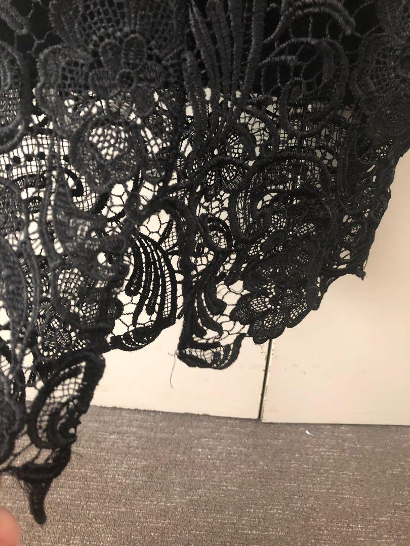 Lioness black lace midi skirt