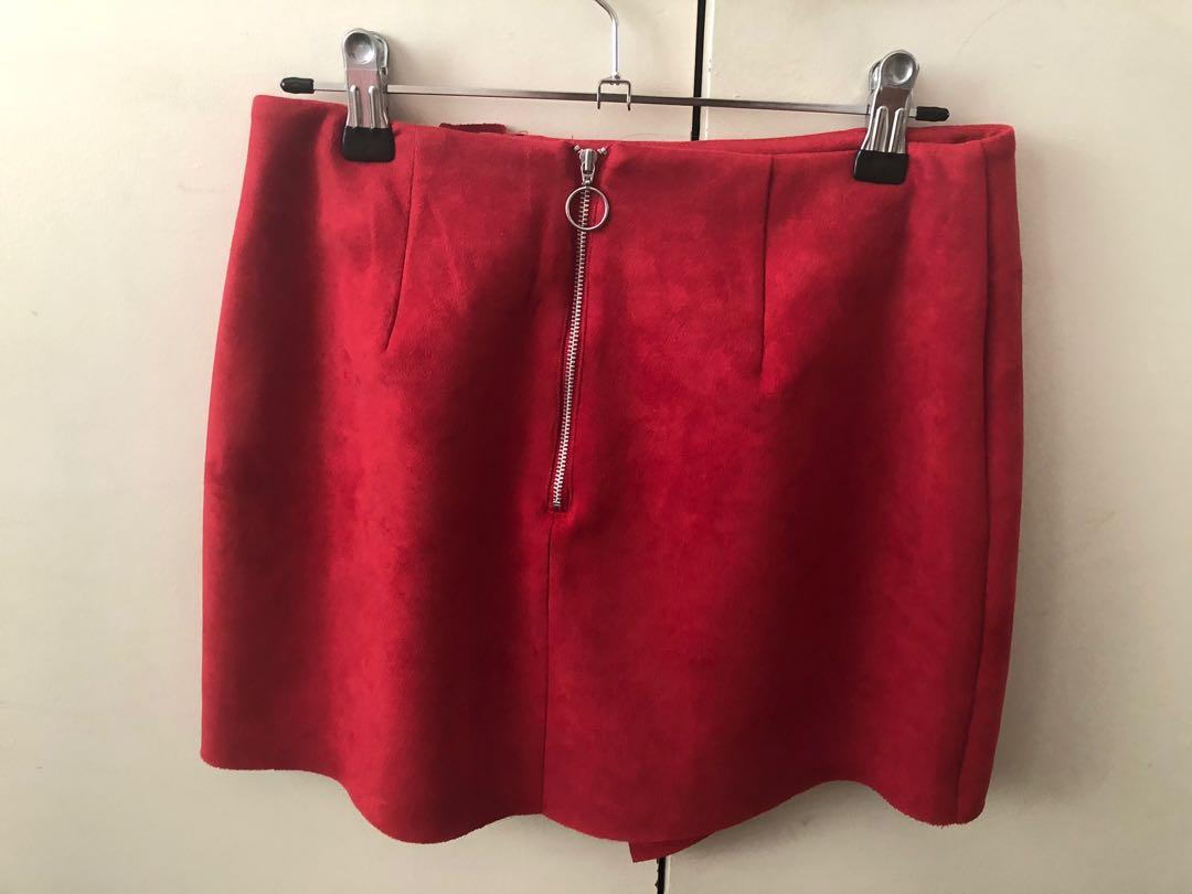 Lulu and rose red suede mini skirt