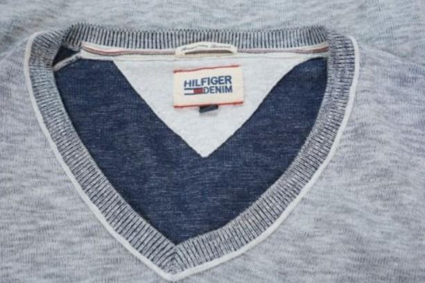 Men Tommy Hilfiger Denim Jumper Grey V Neck Cotton M