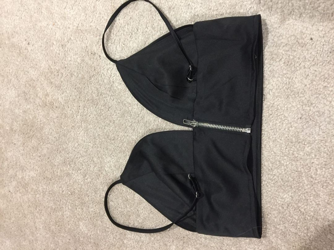 Missguided Hot Bralet Crop Top Sexy Silky Black Straps