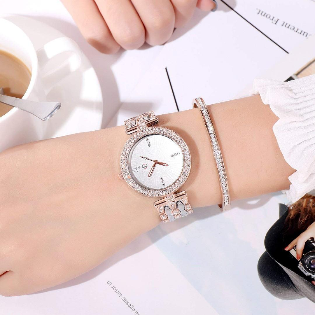 Modor Analogue Bling It on Dual Silver Studded Chain White Colour Dial Women's Watch