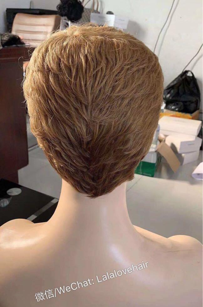 New Human hair none lace wig  blonde color short women wig