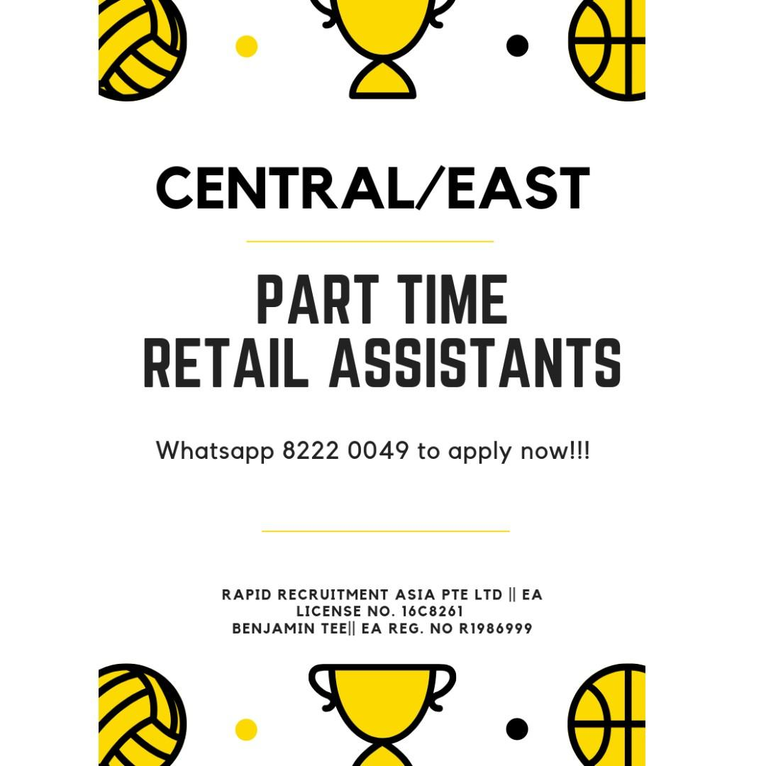 Part Time Retail Assistant @ Central/East!!! Sports Brand!!!