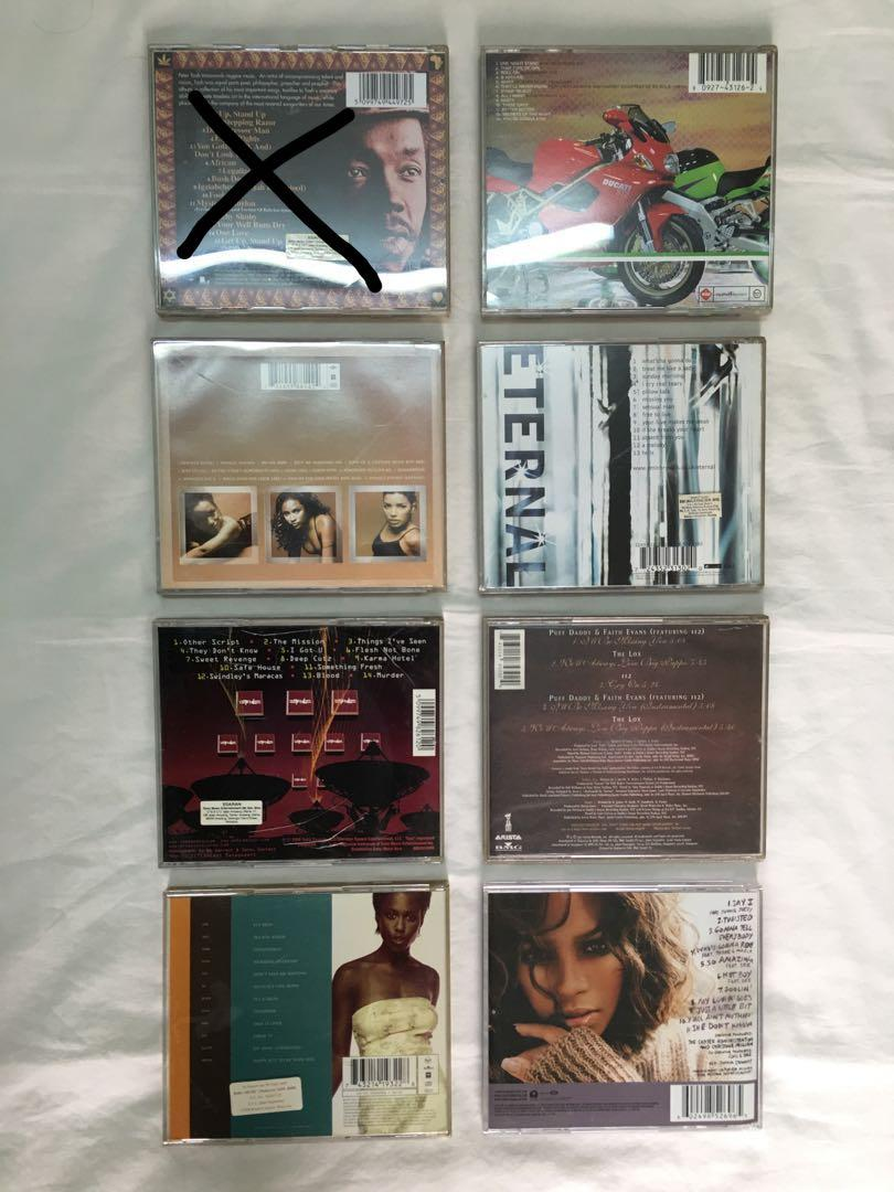 Peter tosh, honeyz, mis-teeq, spooks, eternal, christina milian, puff daddy  & faith evans , michelle gayle cds