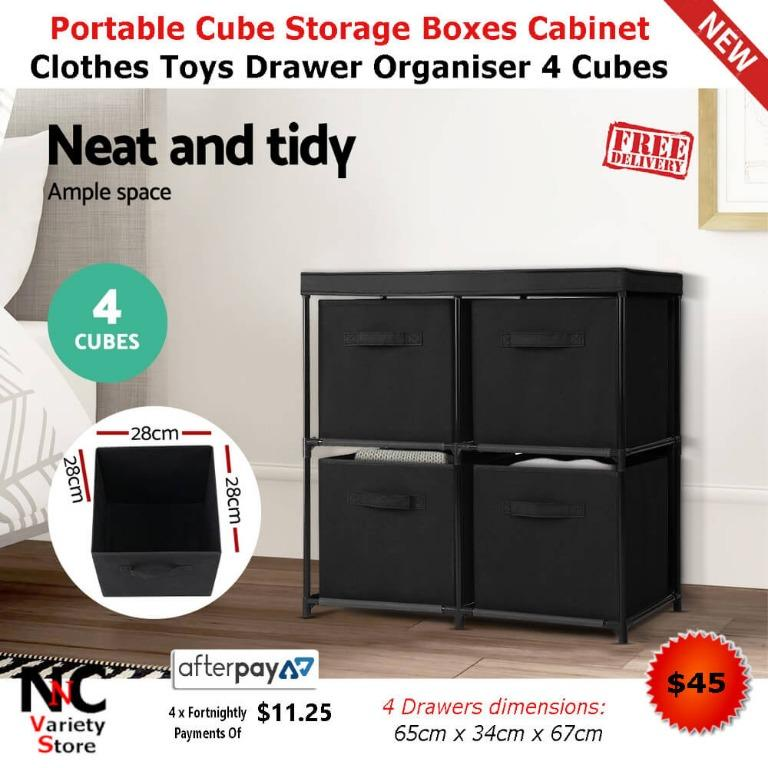 Portable Cube Storage Boxes Cabinet Clothes Toys Drawer Organiser 4 Cubes