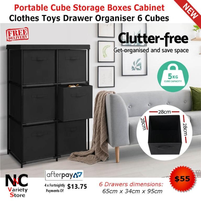 Portable Cube Storage Boxes Cabinet Clothes Toys Drawer Organiser 6 Cubes