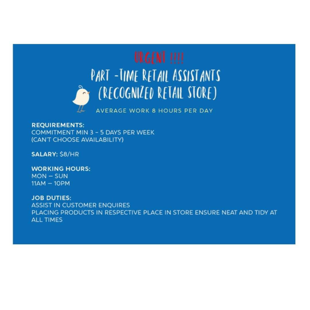 Retail Assistants – RETAIL STORE @EAST & CENTRAL AREA