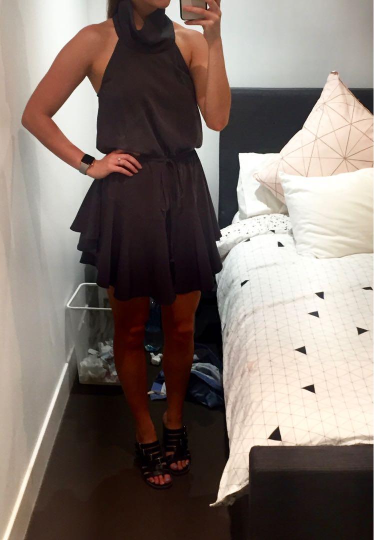 Shona Joy High Neck Drawstring Dress Charcoal Size 6