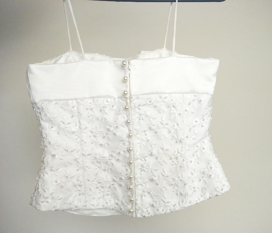 Stunning Size 6 Wedding Dress 2 Piece, Pearl Beaded Top, A-Line Skirt