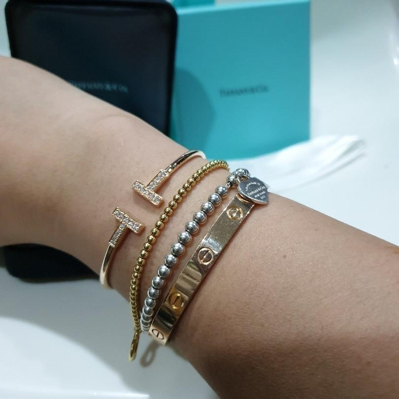 Tiffany Co T Wire Bracelet 18k Gold With Round Brilliant Diamonds Luxury Accessories Others On Carousell