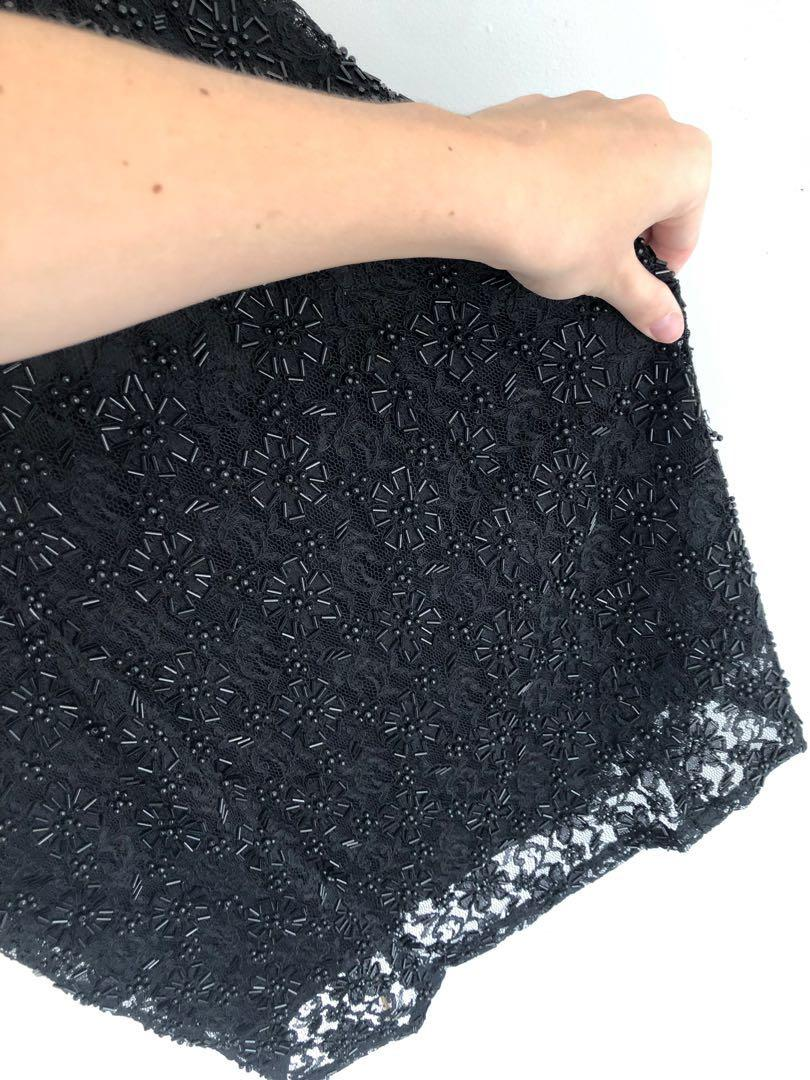 VINTAGE  Black slip dress with Beaded Lace overlay