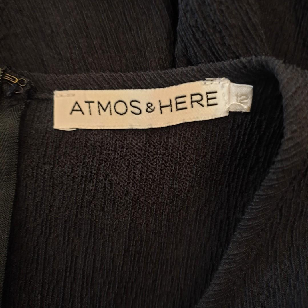 Women's size 12 'ATMOS & HERE' Gorgeous navy crepe fit and flare dress - AS NEW