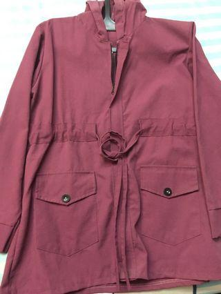 Purple Red Parka Maroon Jaket Vintage Thrift Store Outer Raincoat Lucu Jacket