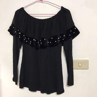 出清-SO NICE女性黑色長袖上衣S號 珍珠 素面 針織 修身