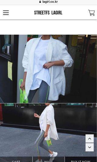 轉賣正韓lagirl白色襯衫西裝外套防曬外套罩衫寬大版型大尺碼