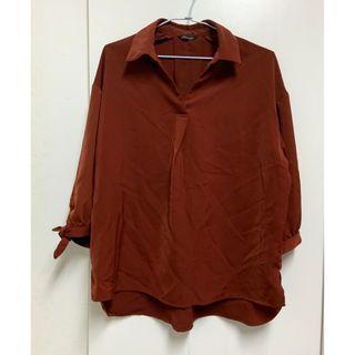 復古磚紅色袖口綁帶襯衫
