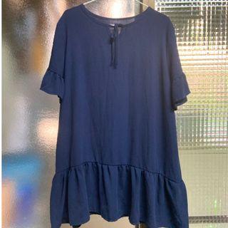 💕限時郵寄單件含運 深藍色寬鬆綁帶連身裙 洋裝