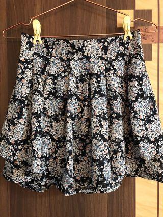 深藍碎花褲裙