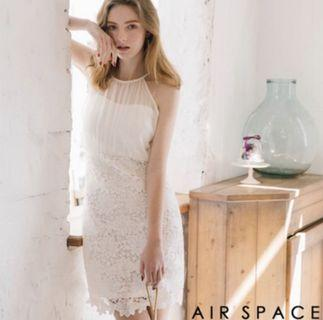 Air space 白色雪紡削肩蕾絲仙氣洋裝 #五折清衣櫃
