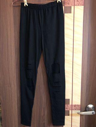 自帶網襪伸縮鉛筆褲