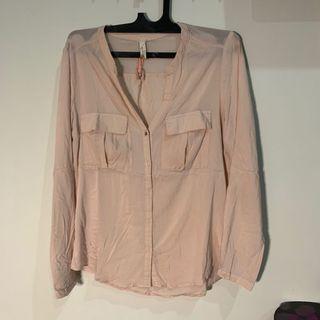 Bershka Pink V-Neck Shirt