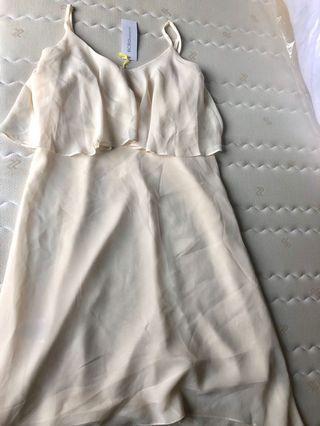 Warm white BCBG dress for prewedding or formal party