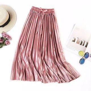 Rok Plisket Skirt Velvet in Dusty Pink