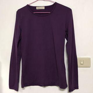 出清-天母嚴選女性長袖U領上衣 僅試穿近全新 打底衣 紫色 素面 素色 S號 合身 修身