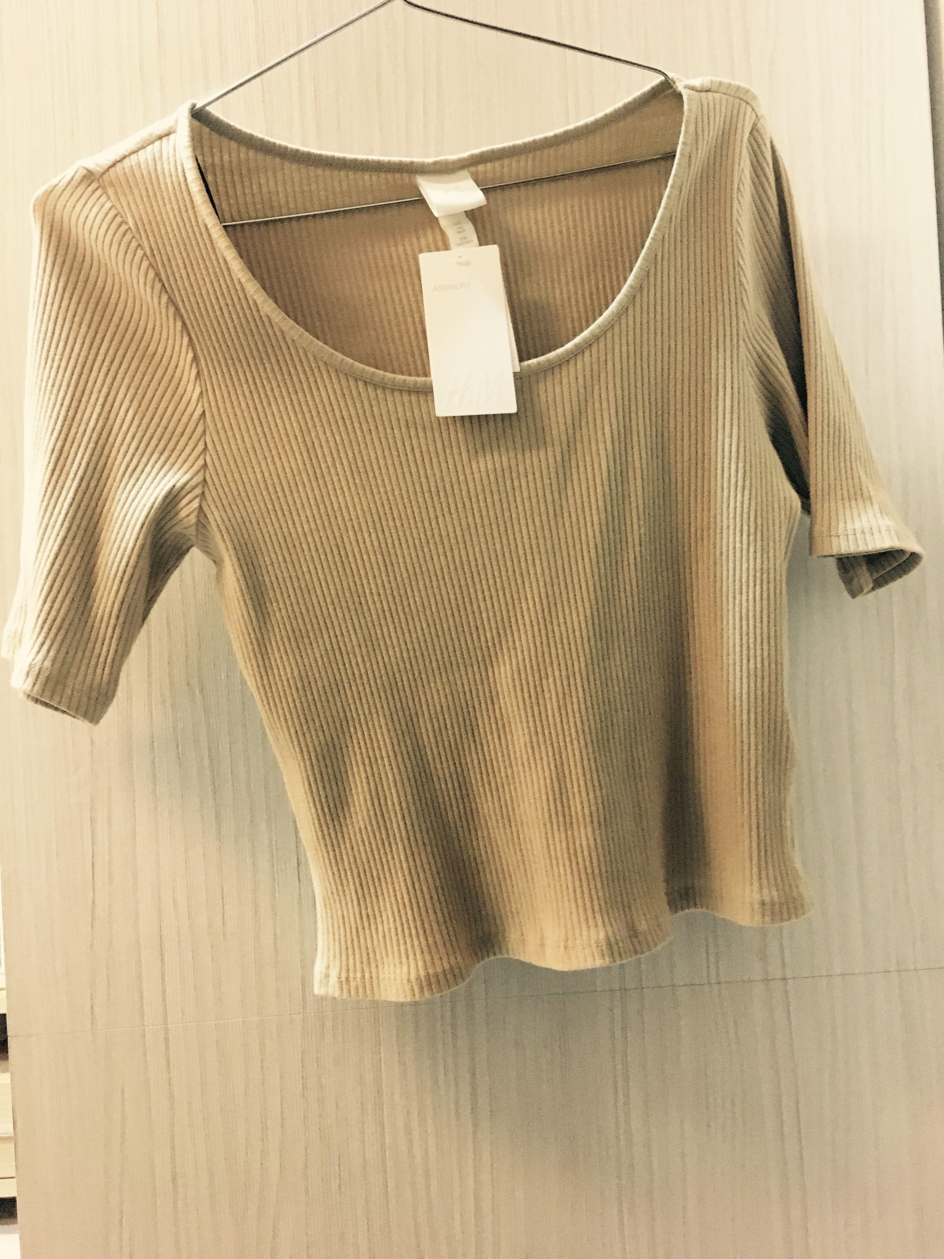 100%棉淺駝色螺紋 直條紋修身T-shirt