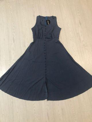 Slit button blue dress