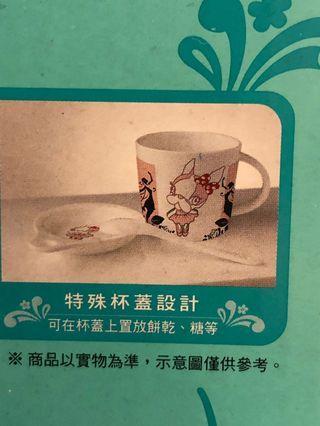 Crystal Ball 午茶小時光陶瓷馬克杯加特殊杯蓋設計+湯匙 可愛 全新未開封