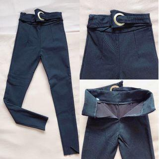 [ALL FOR RM15] Black Wool Slim Cut Pants with Attached Belt GOOD QUALITY