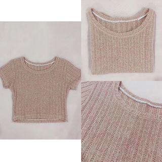 [ALL FOR RM15] Nude Knitted Crop Top