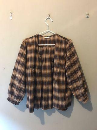 日系少女格紋襯衫