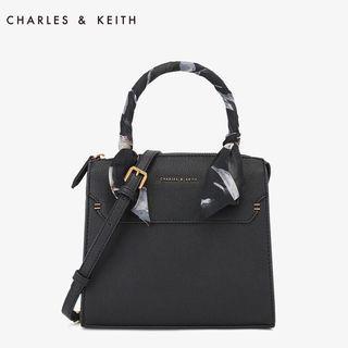 charles & keith 小ck 扭結絲巾手提側背包