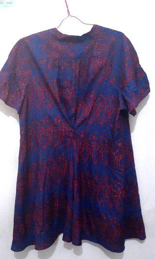 Mididress brand DKNY unique blue and red