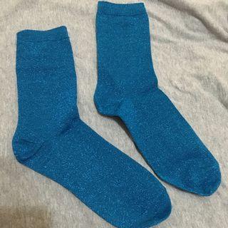 金蔥襪子 藍色蔥 復古優雅好搭配