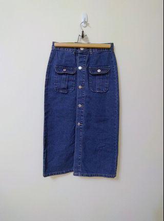 Per.排扣雙口袋牛仔修身窄長裙
