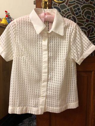 白 襯衫 微透 格紋