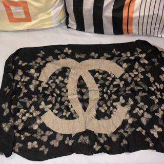 CHANEL BIG LOGO butterflies print Scarves