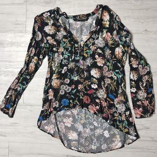 Zara Floral Blouse (Black)