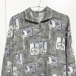 vintage 古著 灰色系圖騰質感襯衫